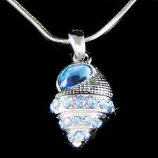 w Swarovski Crystal ~Blue Shell Seashell~ Beach wedding Marine Pendant Necklace