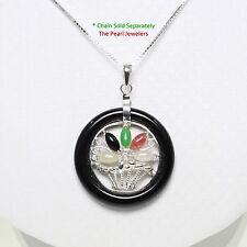Solid Sterling Silver 925 Multi-Color Jade Flower-Baskets Black Onyx Pendant TPJ