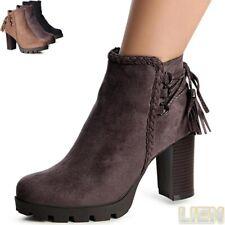 Damen Plateau Stiefeletten Ankle Boots Booties Stiefel Pumps Schnürung Fransen