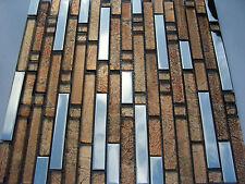 Glasmosaik Edelstahlmosaik Mosaik Metall  Fliese silber bronze Edelstahl poliert