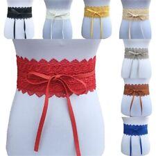 Women's Stretch Buckle Waist Belt Bow Lace Elastic Tie Wide Corset Waistband Hot