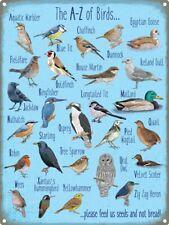Blechschild The A-Z Of Birds 30 x 40 cm