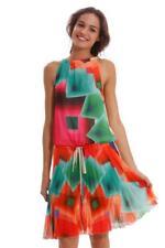 Desigual DELIA dress 38-46 10-18 Rrp £ 99 Floaty Plissettato Bright Chiffon Beige Rosa