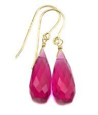 Hot Pink Sim Sapphire Earrings Faceted Long Fuchsia Teardrops Sterling 14k Gold