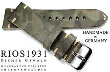 Leather Watch Band 24mm Rios 1931 Germania Look Retrò Vintage Mimetica Militare