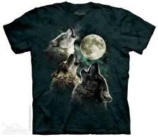 THE MOUNTAIN THREE WOLF MOON CLASSIC HUNTER DOG FIERCE ANIMAL TEE SHIRT S-5XL