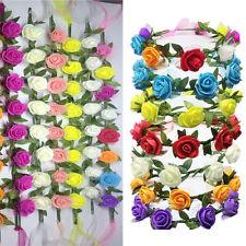 Flower Headband Head Red Elastic Hair Band Party Wedding Accessories Ladies Girl