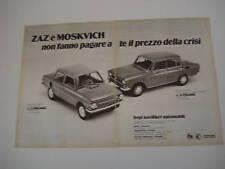 advertising Pubblicità 1978 ZAZ 968 A e MOSKVICH 2140