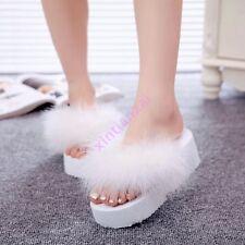 Womens Foam Platform Summer Fluffy Flip Flops Thong Beach Sandals Shoes Slippers