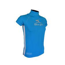DivePro Rash Guard UV Shirt - Herren Lycra Kurzarm blau-weiß
