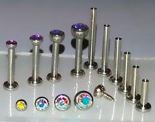 18g 1.5, 2, 2.5 or 3mm AURORA AB Gem Top Threaded Nose Nostril Stud Bone Screw