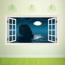 PIRATE SHIP WINDOW WALL STICKER FULL COLOUR - LOUNGE KITCHEN WALL ART C387