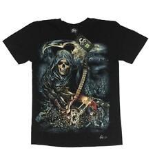 DTO. -20% ! Camiseta Chico Brilla oscuridad Skull GUADAÑA Biker Tshirt glow in t