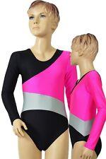 """Kinder Gymnastikbody Sportanzug """"Susan"""" schwarz-pink-silber leotard shiny"""