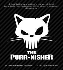 Punisher Cat Skull Purr-nisher Vinyl Decal Window Sticker Punisher Cute Skull