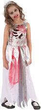 Girls Childrens Kids Bloody Zombie Prom Queen Halloween Fancy Dress Costume 4-12