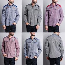 Men's Long Sleeve Checkered Embroidered Button Up Shirt  -FS320-KK6E,FS319-EE12E