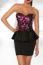 Sexy Miss Women Bandeau Peplum Vintage Mini Sequins Dress S 34 M 36 Black