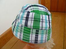 JO JO MAMAN BEBE GREEN BLUE CHECK COTTON SUMMER SUN HAT 0 TO 6 MONTHS BNWT BABY