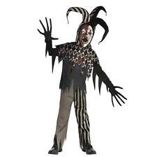 Kid's Teens Twisted Creepy Jester Evil Clown Fancy Dress Halloween Costume Boys