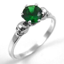 Anello teschio argento 1CT Emerald diamond-unique a mano Anello di fidanzamento