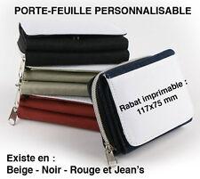 PORTE-FEUILLE PORTE-MONNAIE en TEXTILE RABAT PERSONNALISABLE 117x75 mm NEUF