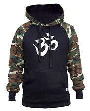 Men's OHM Symbol Camo/Black Raglan Hoodie Buddha Yoga Hindu Religion Peace V303