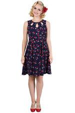 Banned 50s 60s Retro Pinup Rockabilly Summer Cherry Navy Dress