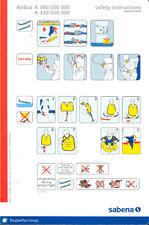 Safety Card - Sabena - A330 A340 Red Qualiflyer(S1401)