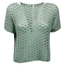 D1340 maglione traforato donna FABIANA FILIPPI green/grey cotton sweater woman
