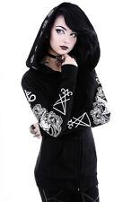 Sweat veste noire à grande capuche avec motifs sataniques, gothique Restyle