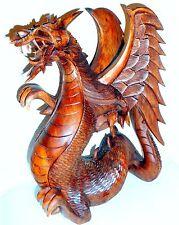 Drache handgeschnitzt aus Suar Holz Holzskulptur Holzfigur 3 Größen 15-20-40 cm