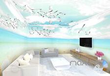 3D Seagulls Beach Heart Sunny Day Entire Room Wallpaper Wall Murals Prints