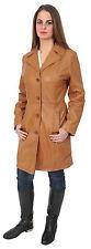 Womens  TAN Trench Leather Coat 3/4 Long Cynthia Classic Macs JACKET new