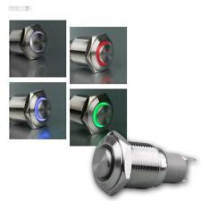 Klingeltaster 16mm mit Ringbeleuchtung, Taster Edelstahl IP67, Metalltaster