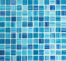 BLAU TÜRKIS STRICH Glasmosaik Fliesenspiegel BADWAND DUSCHWAND POOL 64-0409_b