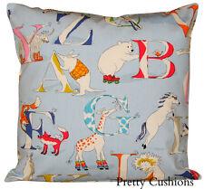 Sanderson Abracazoo Alphabet Zoo Blue Cushion Cover
