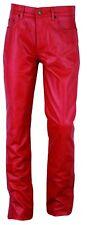 Slim fit Leather Pants Red  Röhren Lederhose Red   Pantalon en Cuir Rouge