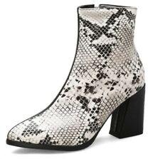 Womens Ladies Pointed Toe Chunky Heel Block Zip Up Snakeskin Pattern Ankle Boots