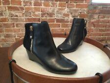 Isaac Mizrahi Black Leather & Suede Kierra Wedge Ankle Boots NEW