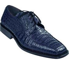 LOS ALTOS GENUINE NAVY BLUE CROCODILE CAIMAN BELLY OXFORDS DRESS SHOE D