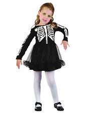 Skeleton Bones Tutu Dress Girls Fancy Dress Kids Childs Halloween Party Costume