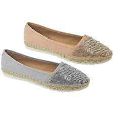 JLY041 Hudson Women's Casual Diamante Front Faux Suede Flat Espadrilles Shoes