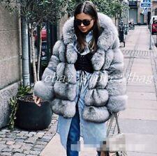 Fashion Warm Fox Fur Coat Thicken Hooded Outwear Jacket Winter Women's Parka New