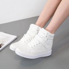 Women's High Top Sports Casual Boot Hidden Wedge Heel Trainners Sneakers Shoes