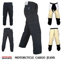 Motorcycle Cargo Pants Motorbike Jeans Reinforced Lining Straight Cut Black