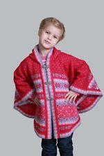 Exklusiver Mädchen Poncho mit Kapuze aus 100% Wolle von Natural Style