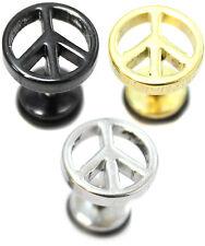 PAIR Peace Mens Earrings Stainless Steel Stud Fake Stretcher Plug Upper Ear