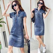 Women Denim Loose Shirt Dress Jean Pencil Skirt Short Sleeve Casual Spring Dress