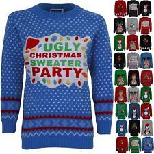 Women's Santa Reindeer Snow Minion Olaf Ladies Knitted Christmas Jumper T-Shirt